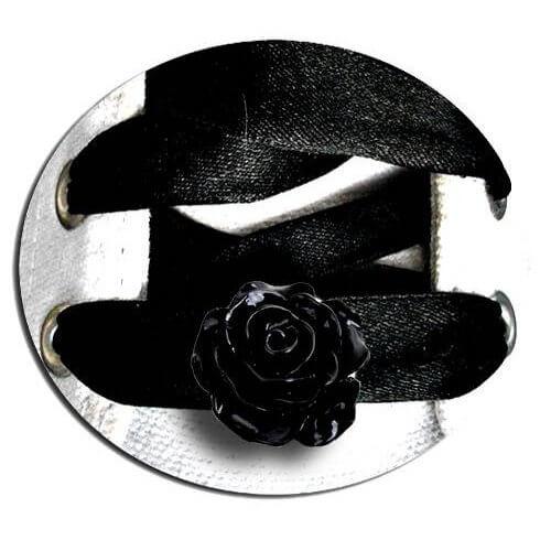 Set 2 décorations de lacets rose noire