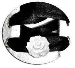 Set 2 décorations de lacets rose 3D blanche