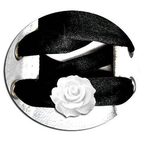 Set 2 décorations de lacets rose blanche