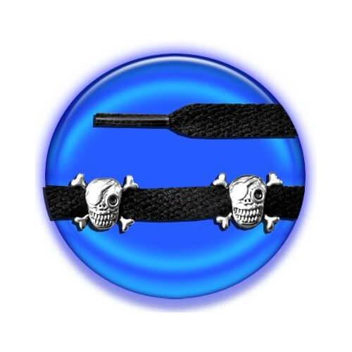 Set 2 décorations de lacets crânes pirates argentés