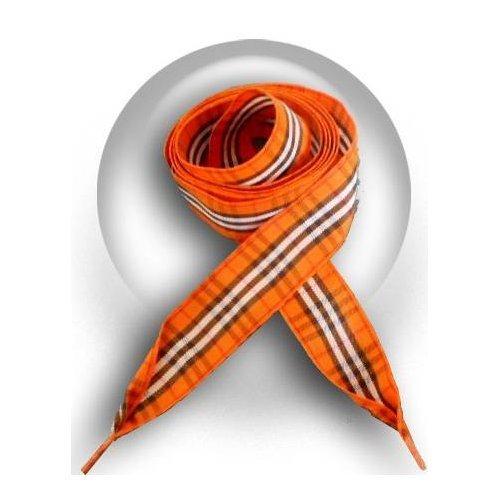 Lacets carreaux écossais orange
