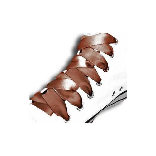 Lacets en satin marron chocolat