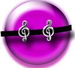 Set 2 décorations de lacets musique argentés