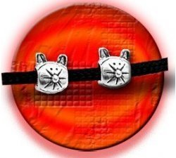 Set 2 décorations de lacets chats argentés