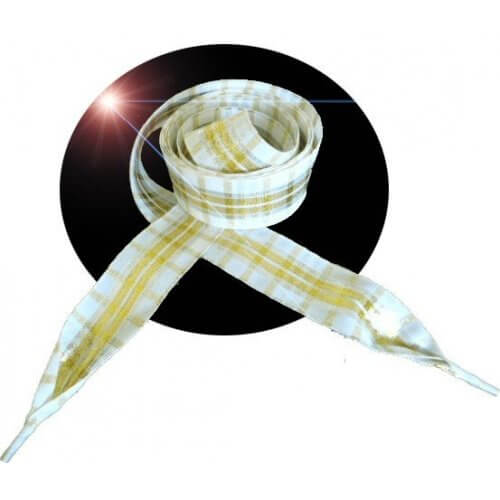 Lacets blancs carreaux écossais dorés
