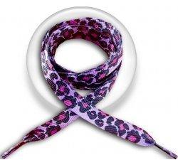 Lacets panthère violet, fushia & noir