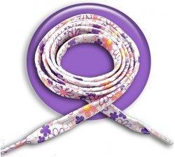 Lacets blancs fleurs corail violet