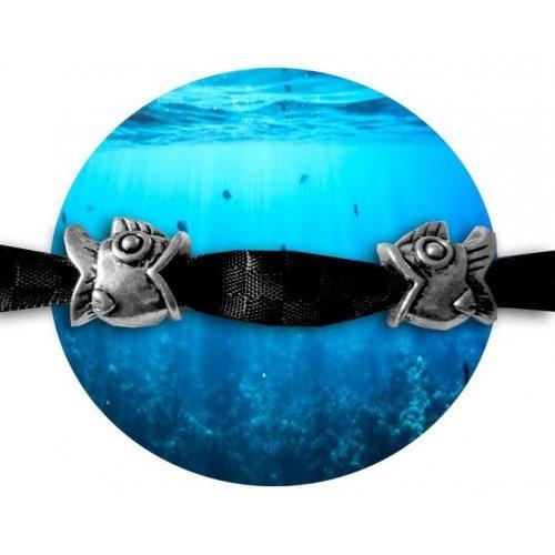 Set 2 décorations de lacets poissons argentés