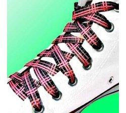 Lacets tartan écossais rose