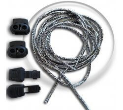 Lacets élastiques autobloquants argentés sans noeud